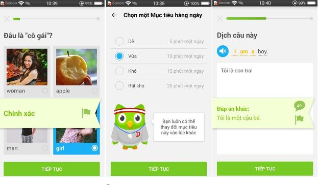 Ứng dụng học ngoại ngữ Duolingo