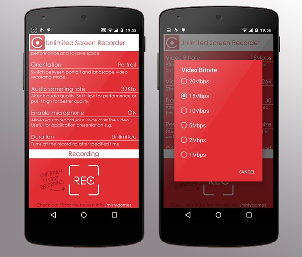 Ứng dụng Unlimited Screen Recorder Free trên Android