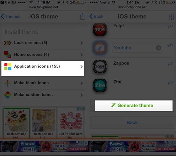 Nhấn chọn Install theme và Application icons để thiết lập thay đổi